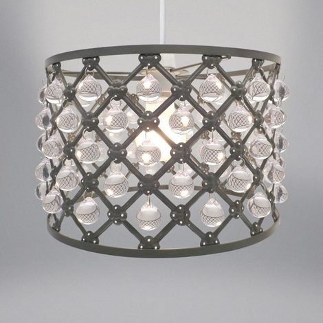Country Club Bijou Easy Fit Jewelled Ceiling Light Lampshade Grey