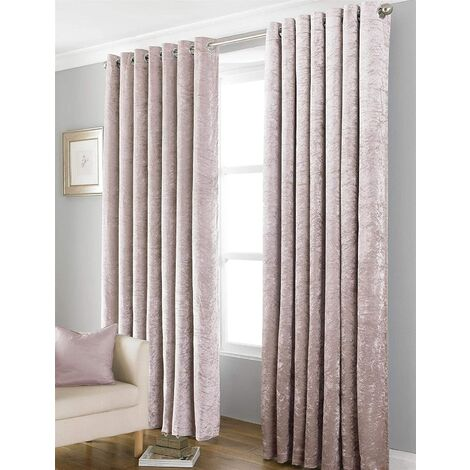 """Country Club Bliss Crushed Velvet Eyelet Ready Made Curtains - Blush 66x72"""""""