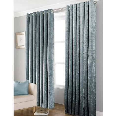 """Country Club Bliss Crushed Velvet Eyelet Ready Made Curtains - Teal 66x90"""""""