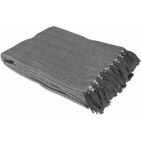 Country Club Como Grey 100% Cotton Herringbone Throw Sofa Accessory 127x152cm