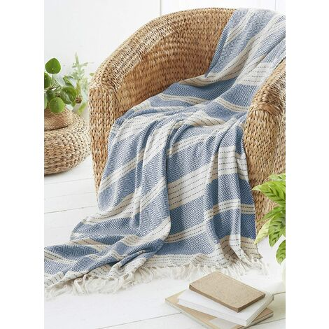 COUNTRY CLUB Diamond Throw Over Blanket Bed/Sofa Accessory Navy 170x200cm, Blue
