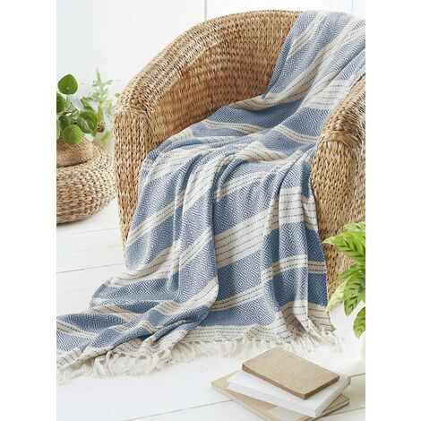 COUNTRY CLUB Diamond Throw Over Blanket Bed/Sofa Accessory Navy 200x240cm