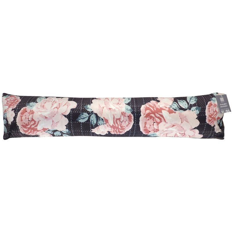 Image of Country Club Pink Roses Check Draught Excluder Window Door Draught Excluder - BEAMFEATURE