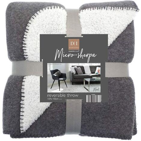 Country Club Plain Grey Marl Microsherpa Fleece Reversible Bed/Sofa Throw 120cmx150cm (Dark Grey)