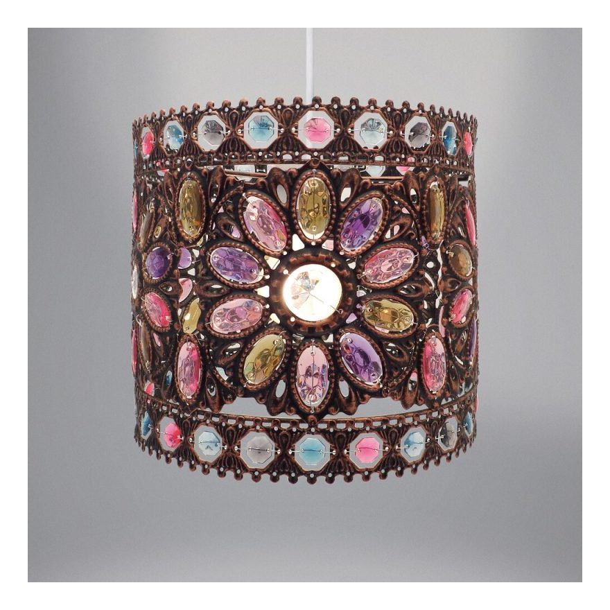 Image of Country Club Tilly Easy Fit Jewelled Ceiling Light Lampshade Antique Brown