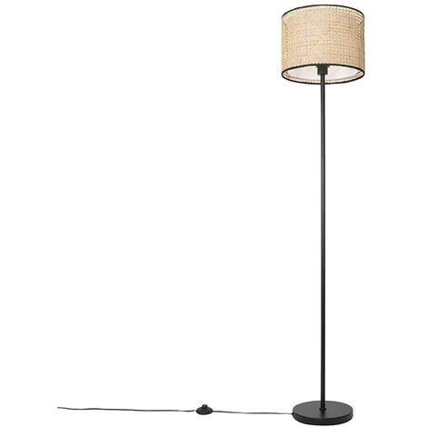 Country floor lamp black with rattan shade - Kata