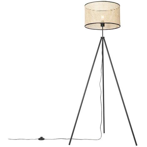 Country floor lamp tripod black with rattan shade - Kata