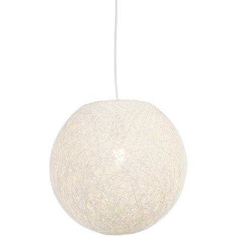 Country hanging lamp white 35 cm - Corda