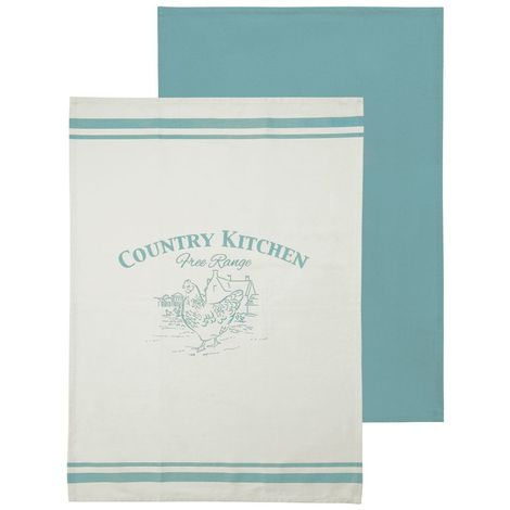 Country kitchen tea towels,100% cotton blue / natural,set of 2