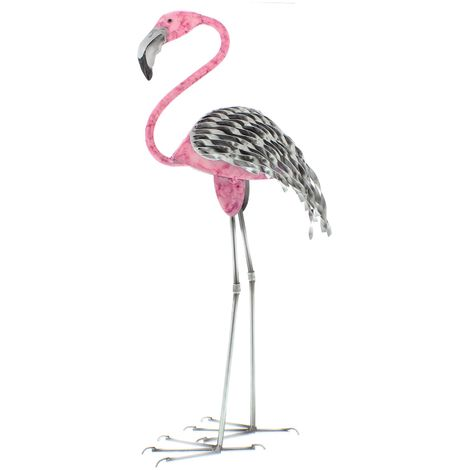 Country Living Hand Painted Metal Standing Flamingo