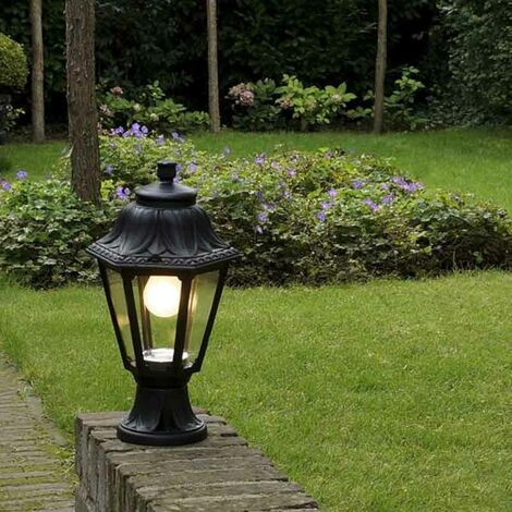 Country Outdoor Pedestal Lantern Lamp Black IP44 - Anna