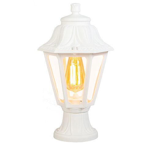 Country Outdoor Pedestal Lantern Lamp White IP44 - Anna