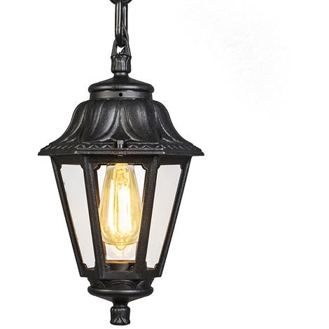 Country Outdoor Pendant Lamp Black IP44 - Anna