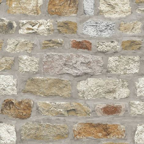 Country Stone Rustic Old Brick Wall Wallpaper Faux Effect Realistic Arthouse