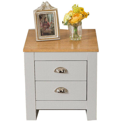 Country Style 2 Drawer Grey Bedside Table Night Stand