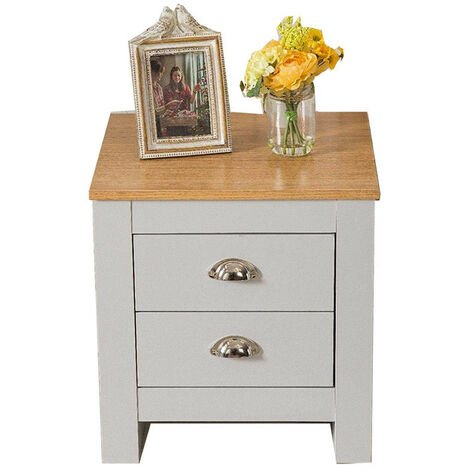 """main image of """"Country Style 2 Drawer Grey Bedside Table Night Stand"""""""