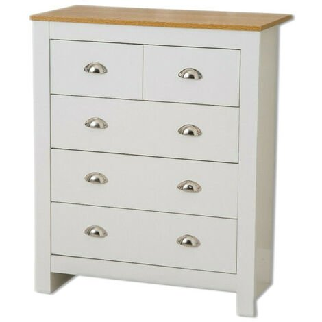Country style 3+2 Chest of Drawer in white