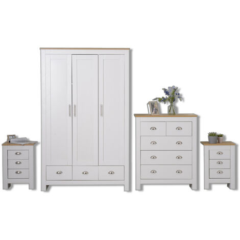 Country style 4 Piece Wardrobe set in White