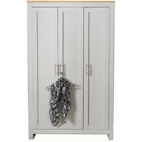 Country Style Bedroom Furniture 3 Door Wardrobe Grey