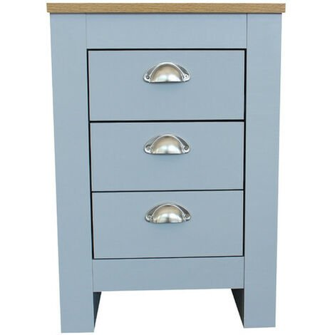 Country Style Bedside Table 3 Drawer Grey Cabinet Storage Unit Bedroom Furniture