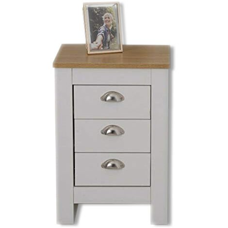 Country Style Bedside Table 3 Drawer White Cabinet Storage Unit Bedroom Furniture