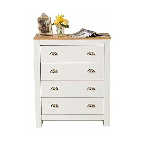 Country Style Chest of 4 Drawers Cabinet Bedroom Storage Furniture in White
