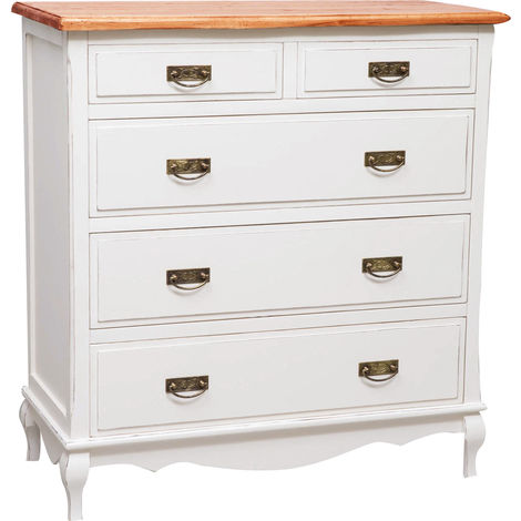 Country-style solid lime wood antiqued white frame top walnut finish W100xDP45xH106 cm sized tallboy . Made in Italy