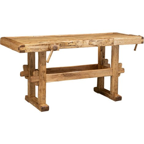 Country-style solid lime wood, natural finish L194xPR84xH90 cm sized workbench . Made in Italy