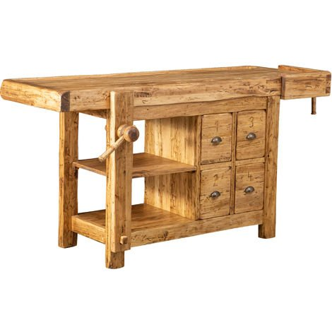 Country-style solid wood, natural finish sized workbench . Made in Italy