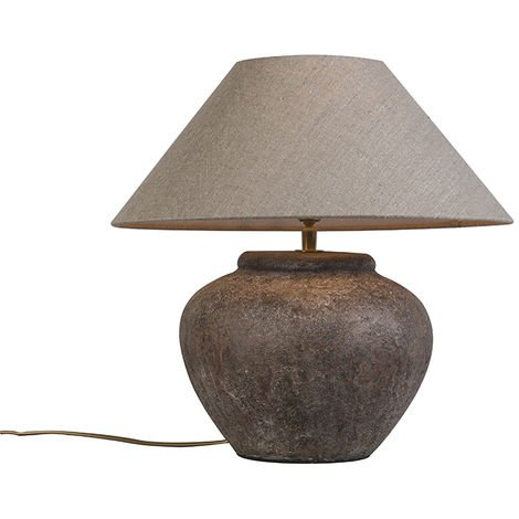 Country table lamp brown with shade- Palma XS vintage