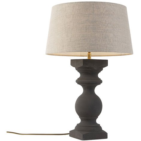 Country table lamp gray with shade beige 35 cm - Rik S