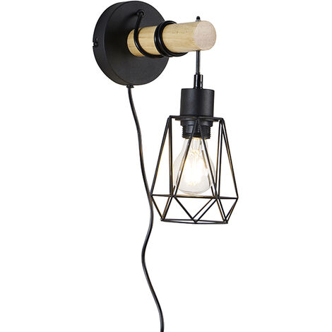 Country wall lamp black with wood - Dami Frame