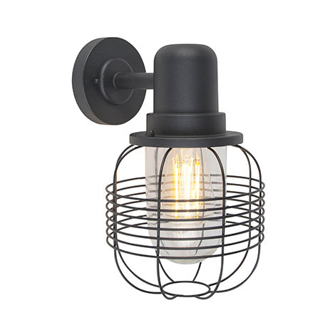 Country wall light black IP44 - Guardado
