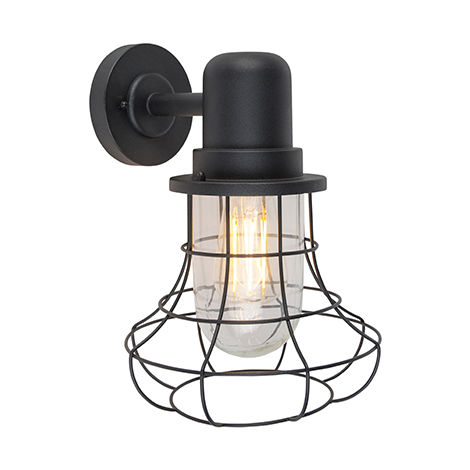 Country wall light black IP44 - Moreno