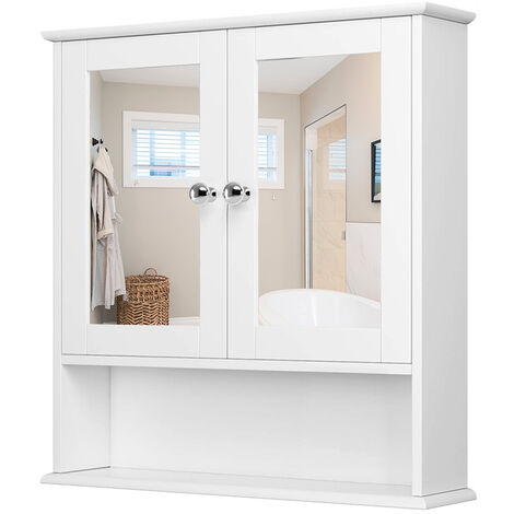 Countryside Closet Wall Dresser Cabinet White Hanging Cabinet Dresser with Mirror Doors Bathroom Cabinet