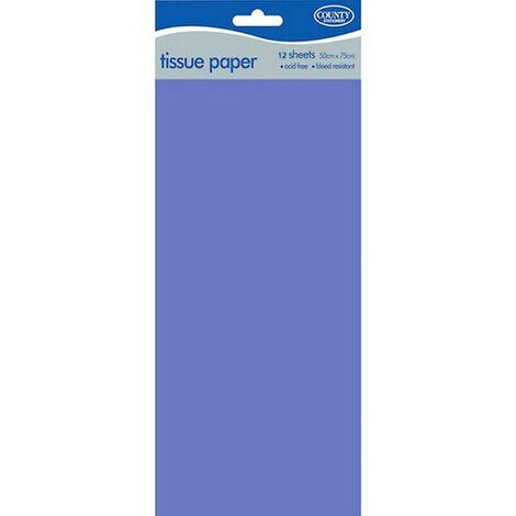 County - Papiers de soie (Lot de 12) (50 x 75 cm) (Bleu)