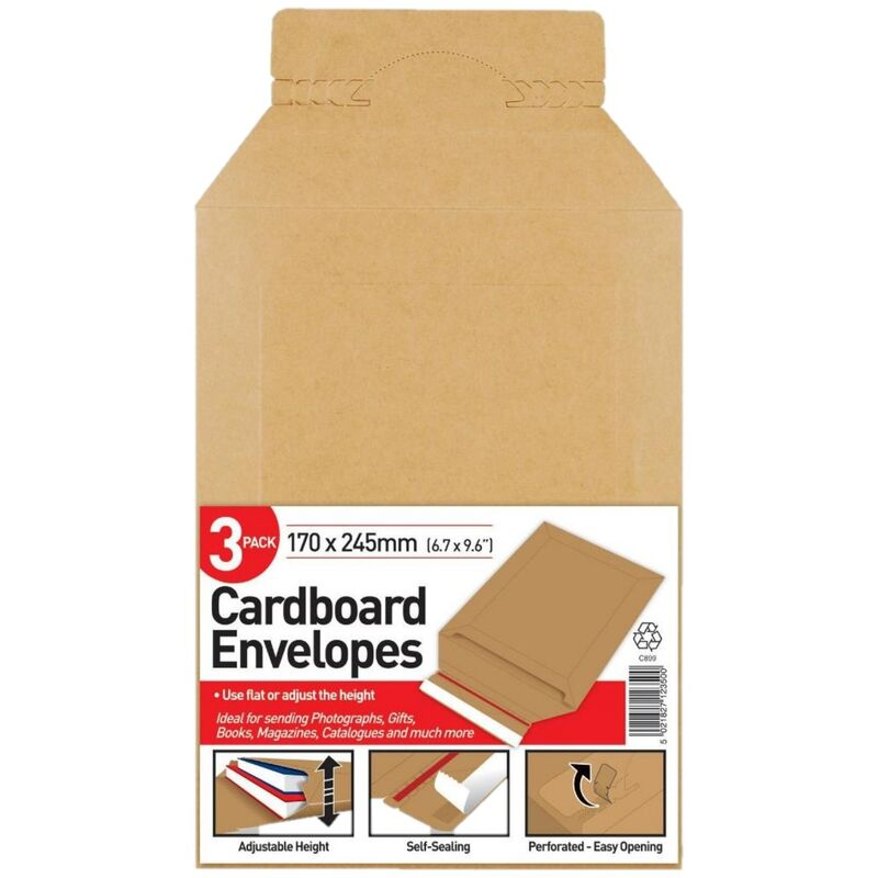 Image of Cardboard Board Back Envelope (Pack of 3) (One Size) (Brown) - County Stationery