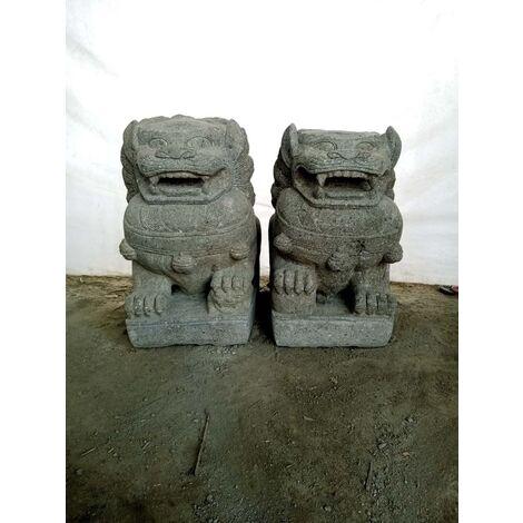 Couple chien fu foo statue pierre volcanique 60 cm