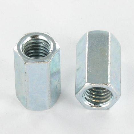 COUPLING NUT HEXAGONAL 11X20 WITH HOLE M8 ZINC PLATED