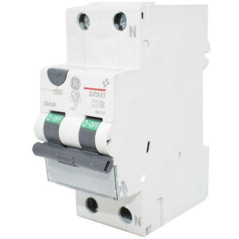 Courant résiduel disjoncteur GE 10A 4.5 KA 0,03 UN Type de Courbe C 690157