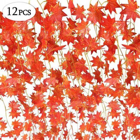 Couronne d'automne de plante artificielle, 12 brins (90 pieds) feuille d'érable artificielle feuille d'érable rouge vigne lierre feuilles vertes couronne de feuilles d'automne