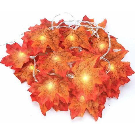 Couronne d'automne, feuilles d'automne, couronne de feuilles d'érable, feuilles de guirlande d'automne, décoration parfaite pour Thanksgiving et lumières de Noël (jaune 3m 20led)