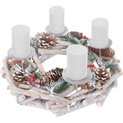 Couronne de l'avent, bois, rond Ø 35cm, blanc-gris ~ bougies blanches