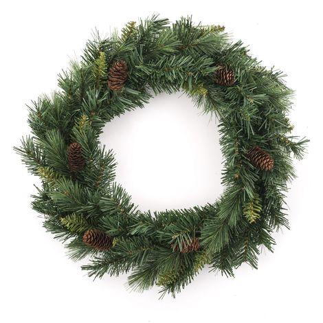Couronne de Noël avec pommes de pin Royal - Diam. 40 cm - Vert - Vert