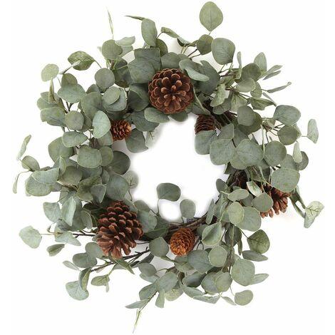 Couronne de Noël design Eucalyptus et pin - Diam. 60 cm - Vert - Vert