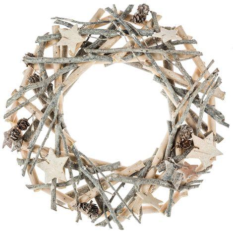 Couronne de Noël en bois et branches - Diam. 32 cm - Gris - Gris