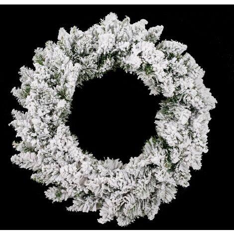 Couronne de Noël floqué neige Blooming - Diam. 60 cm - Blanc - Blanc