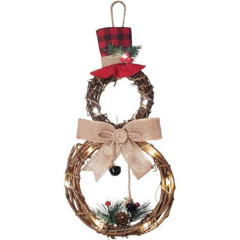 Couronne de Noël illuminée avec chapeau et nœud en forme de bonhomme de neige pour porte d'entrée ou maison