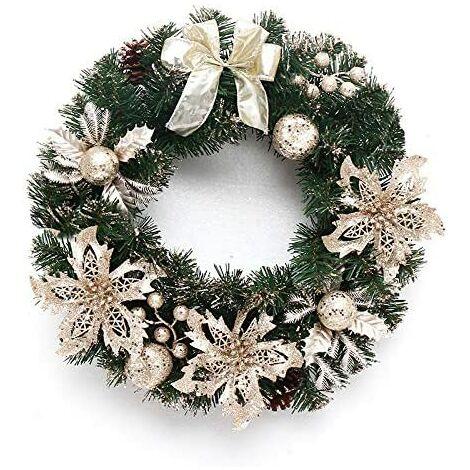 Couronne de Noel Porte, 16'' Deco Noel Deco Sapin de Noel Guirlande de Noel Decoration de Noel Exterieur avec Cintre