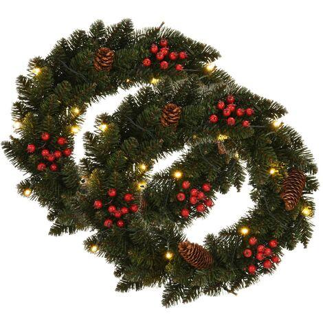 Couronnes de Noël avec décoration 2 pcs Vert 45 cm